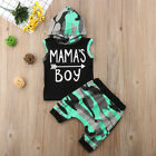 2pcs Summer Baby Boy T shirt Tops Hooded+Short Pants Outfit Toddler Kids Clothes