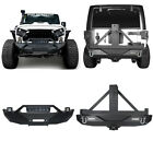 Front  Rear Bumper w Wrok Light Bar  Tire Carrier For Jeep Wrangler JK 07 18