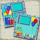 MAKE A WISH Blue Birthday 2 Premade Scrapbook Pages EZ Layout 3852