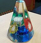 Murano Glass Pyramid Paperweight Fratelli Toso Trumpet Flowers Bubbles Art Glass