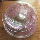 VTG Lancaster Glass Colony Crystal Pink Dogwood Console Set Footed Bowl