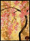 PAPYRUS Asian Pink Cherry Blossoms Flowers Tree GOLD SHEEN Blank Note Card NEW