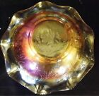 Vintage Louisa Floragold Jeannette Glass Carnival Ruffle Bowl Marigold