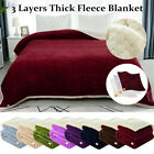 Reversible 3 Layers Textured Soft Warm Thick Fleece Blanket Twin Full Queen Size