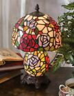 Victorian Trading Co Tiffany Style Rose Stained Glass Table Lamp