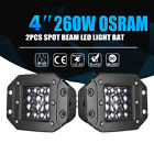 4Inch 260W QUAD Row Flush Mount LED Pods Spot Beam Work Light Bar 6000K SUV 5