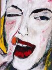 LIPS figure original signed acrylic painting Expressionism by Lori Beikman 2005