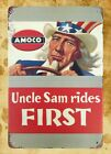 US Seller- metal wall hanging decor Uncle Sam rides First Amoco tin metal sign