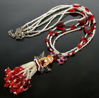 VTG RED HEART FAIRY WITH WINGS VENETIAN GLASS NECKLACE