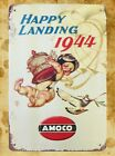 US Seller- alphabet wall home tavern Happy Landing 1944 Amoco tin metal sign
