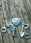 2pcs Partners in Crime Handcuff Necklace Gun Pistol Shovel Couple Best Friends