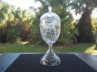 VINTAGE VERY LARGE CRYSTAL FOOTED COMPOTE WITH LID DEEPLY DETAILED HEAVY EUC