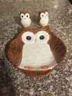 Better Homes and Garden Heritage Earthenware Owl Plate and Salt Pepper Shakers