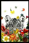 White Tiger Tropical Flowers Peeking Out Watching Blank Greeting Note Card NEW