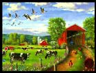 Thinking of You Barn Cows Geese Chickens Tractor Farm Thinking of You Card NEW