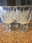 Indiana Glass Diamond Point Water Wine Goblet 10 Oz Set Of (5)