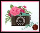 PAPYRUS Camera Flowers Smile GLITTERED Blank Inside Greeting SMALL Note Card