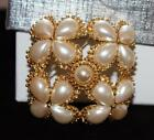 New Unworn ST JOHN Faux Pearls Large Brooch Maltese Cross 2 1 4 with chain clip