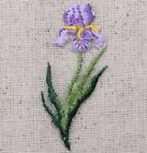 Small Purple Iris Single Flower Spring Iron on Applique Embroidered Patch