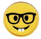 LARGE Smiley Face Emoji Nerd with Glasses Iron on Applique Embroidered Patch