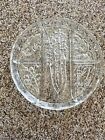 Vintage Vegetable Tray Etched Clear Glass Divided Shabby Chic