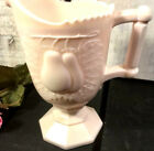 Vintage Jeannette Baltimore Pear Embossed Shell Pink Milk Glass Footed Creamer