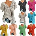 Womens V Neck Floral Tee T shirts Short Sleeve Blouse Loose Tunic Tops Plus Size
