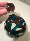 Vintage Hand Signed MDINA Maltese Art Glass LARGE PAPERWEIGHT DISPLAY Blue Brown