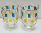 2 COLORFUL Vintage Mid-Century Cocktail/Bar Green/Turquoise 5.5oz. Glasses
