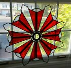 Beautiful Sunburst 24 Handcrafted Stained Glass Window Panel Red