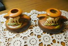 Roseville Fressia Candle Holders in Tangerine