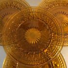Amber Glass Plates VTG Set 4 Luncheon Mid Century Replacement Pieces Made USA