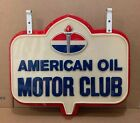 1960s American Oil Motor Club Double Sided Hanging Advertising Flange Sign Amoco