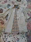 BURBERRY VINTAGE WOMENS TRENCH COAT CHECK PLAID SIZE 12 LONG