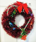Handmade 14 Christmas Wreath w Vintage Candy Piece Ornaments Candy Canes Bow