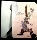 Papyrus Beautiful Eiffel Tower Butterflies Flowers GLITTERED Small Note Card NEW