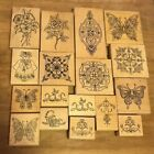 Lot Of 17 Holly Berry House Rubber Stamps On Wood Mounts
