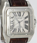 Cartier Santos 100 XL Stainless Steel Mens Automatic 38mm Leather Watch