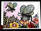 KLIBAN Beautiful Kittens Cats Wings Flowers Cute Blank Greeting Note Card NEW