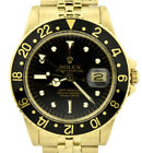 Vintage 1978 Rolex GMT-Master 16758 Black Nipple Dial 18k Yellow Gold 40mm Watch