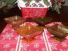 VINTAGE 2 Amber 2 Green Colored Footed Candy Dishes*Many uses
