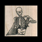 SKELETON IN GRAVE Rubber Stamp Halloween Stamp Day of the Dead Rubber Stamp