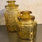 Atterbury Scroll L E Smith VTG Set 2 Amber Gold Glass Canisters Lids Storage
