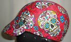 Cycling cap reversible wool color black red skull cotton one size or any size