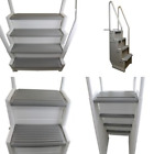 Above Ground Summer Swimming Pool Sturdy Ladder Step Staircase Deck Steps Stairs