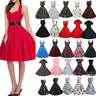 Womens 50s 60s Style Vintage Retro Rockabilly Polka Dot Party Swing A Line Dress