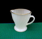 Vintage Anchor Hocking Fire King Milk Glass Swirl creamer with Gold Rim