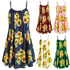 Women Slash Neck Sleeveless Draped Summer Sunflower Print Strap Mini Dress