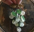 Antique vintage gold tone leaf pin brooch w clear glass berries  green leaves