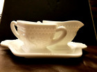 Vintage Indiana White Glass Sugar Creamer and Tray Set